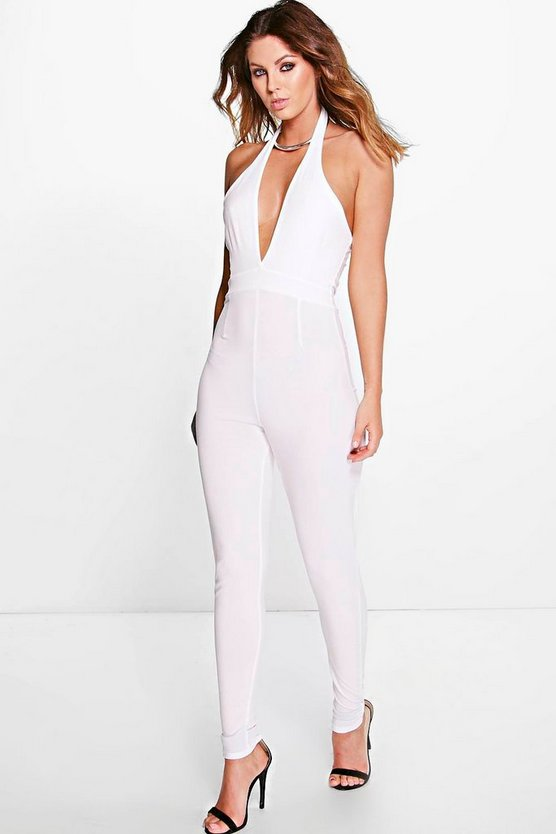 Womens Ivory Claire Cut Out Halterneck Jumpsuit