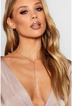 Womens Gold Skinny Chain Plunge Necklace