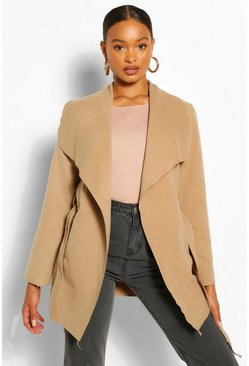 Womens Camel Waterfall Coat