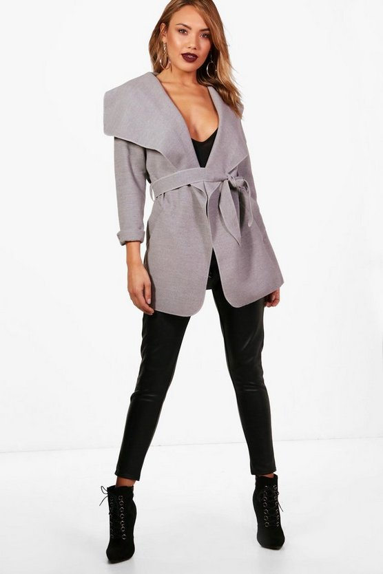 Womens Grey Waterfall Coat