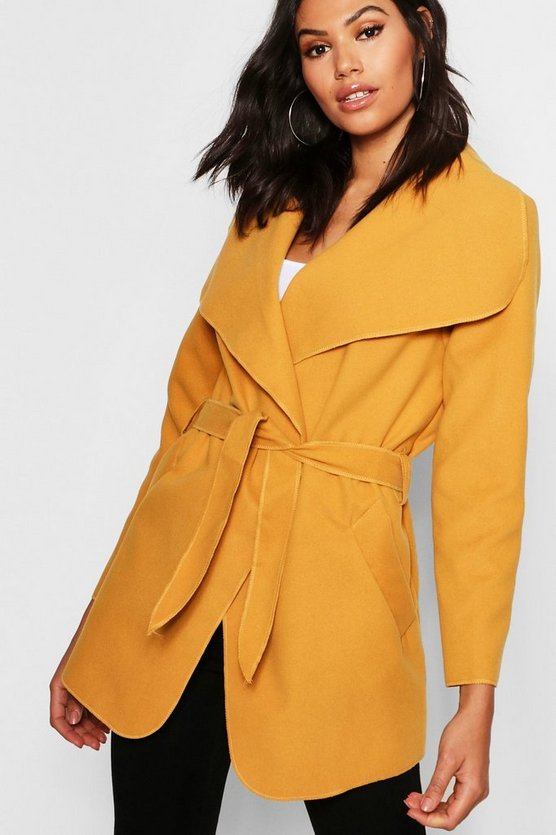 Womens Mustard Waterfall Coat