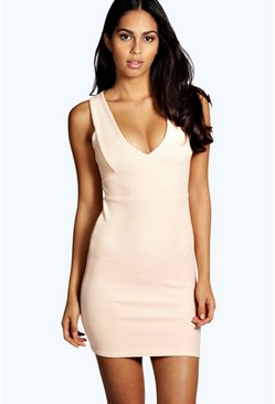 Womens Nude Callie Textured Plunge Neck Bodycon Dress