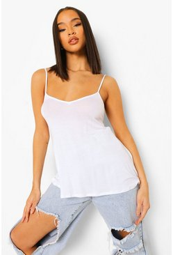 Womens White Basic Swing Cami