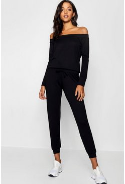 Womens Black Bardot Lounge Top And Trouser Set