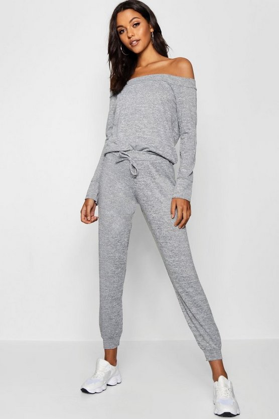 Womens Grey Bardot Lounge Top And Trouser Set