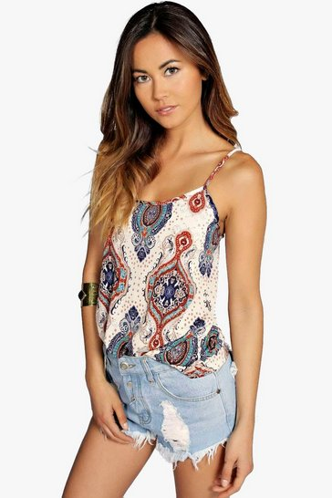Womens Cream Paisley Print Swing Cami