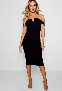 Black Bardot Midi Bodycon Dress