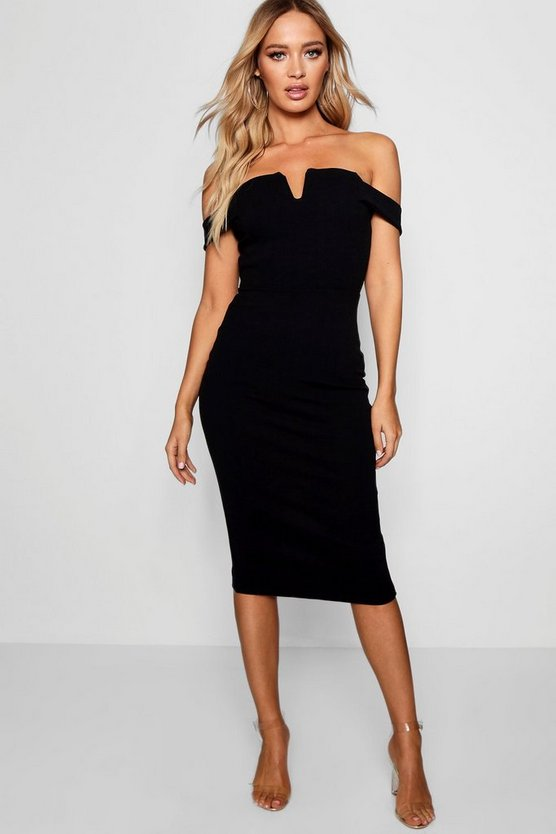 Womens Black Bardot Midi Bodycon Dress