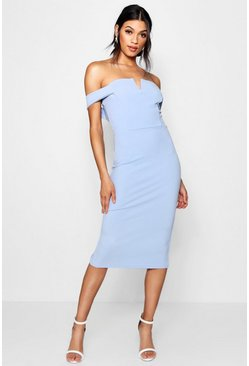 Cornflower Bardot Midi Bodycon Dress