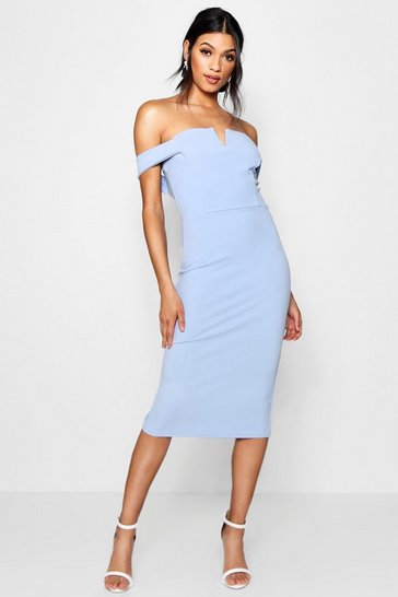 Womens Cornflower Bardot Midi Bodycon Dress