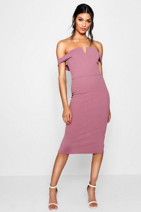 Womens Mauve Bardot Midi Bodycon Dress