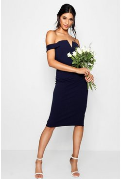Womens Navy Bardot Midi Bodycon Dress