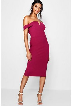 Raspberry Bardot Midi Bodycon Dress