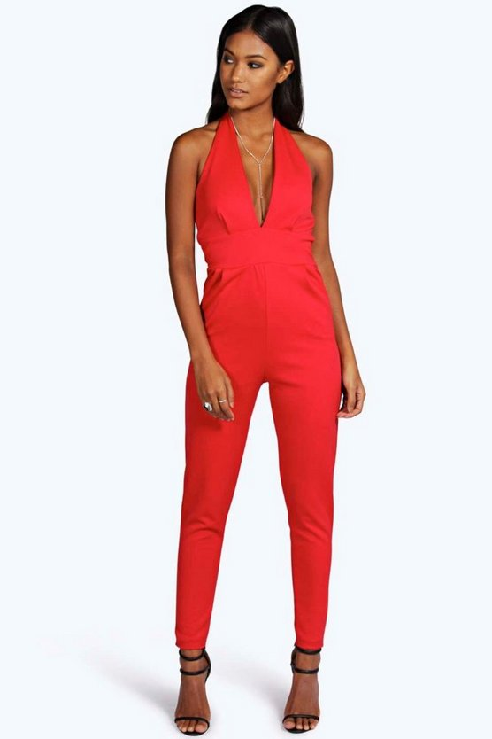 Womens Red Halter Neck Plunge Neck Jumpsuit