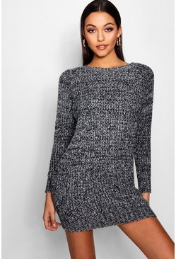 Womens Black Soft Marl Knit Jumper Dress