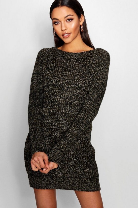 Womens Khaki Soft Marl Knit Jumper Dress