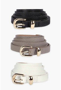 Multi Skinny Belts 3 Pack
