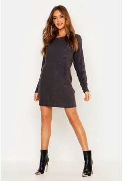 Charcoal Soft Knit Jumper Dress