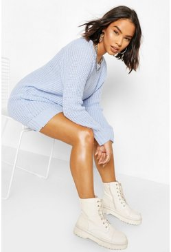 Cosy blue Soft Knit Jumper Dress