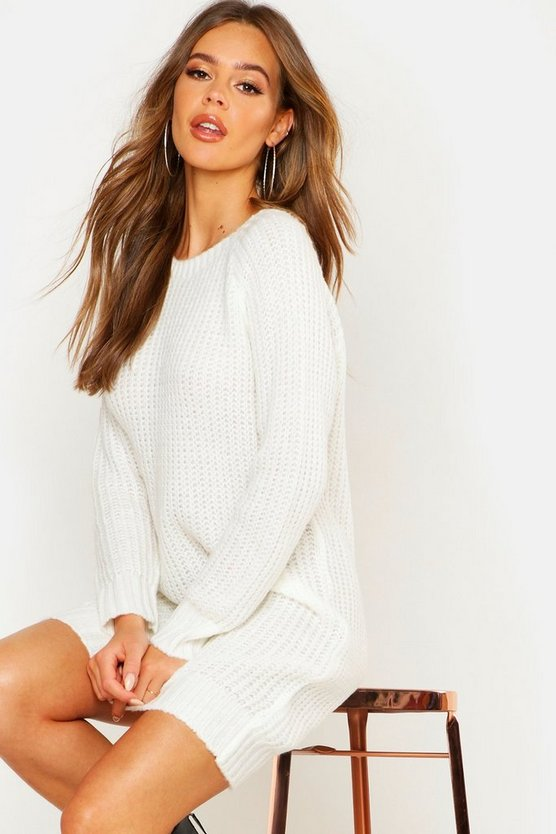 Womens Ivory Soft Knit Jumper Dress
