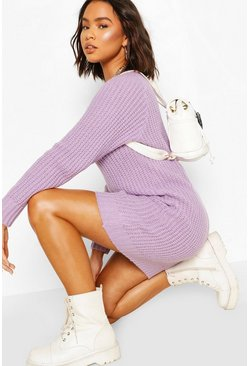 Lilac Soft Knit Sweater Dress