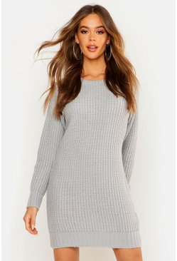 Silver Soft Knit Sweater Dress