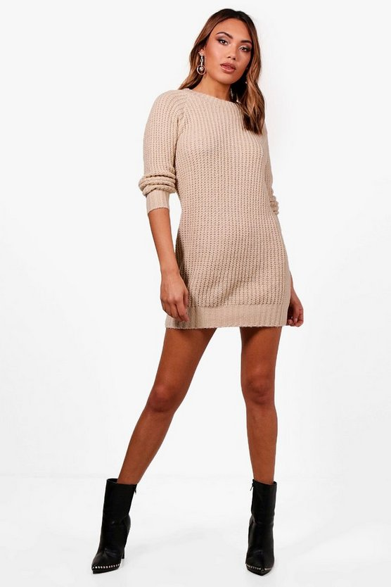 Womens Stone Soft Knit Jumper Dress
