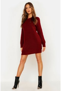 Womens Wine Soft Knit Jumper Dress