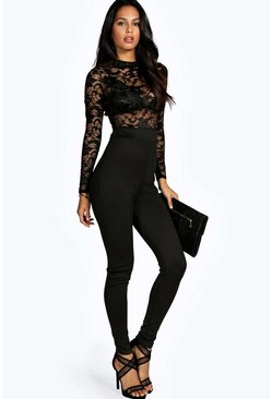 Womens Black Lacy High Neck Jumpsuit