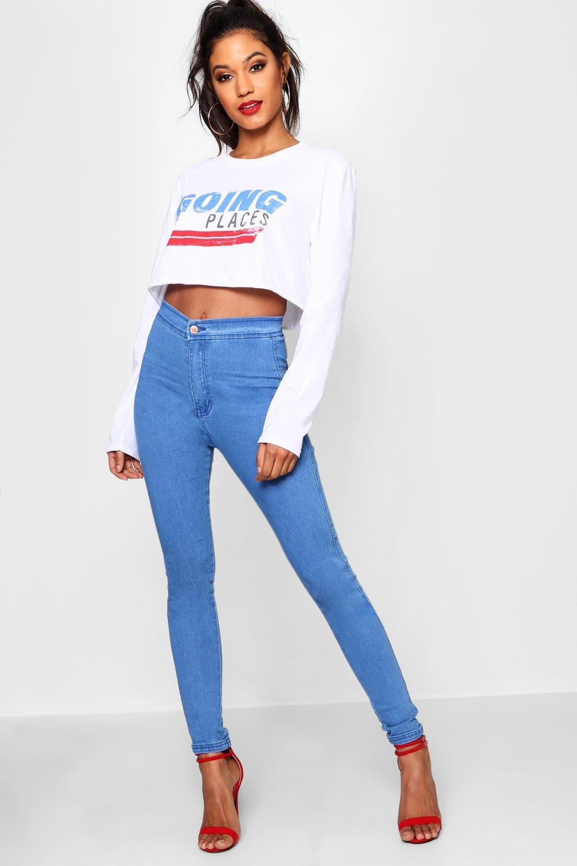 de Jeans tubo alto talle azules Azul wH7E0rHq