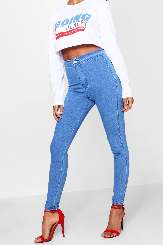 Jeans Azul de azules alto tubo talle qUBavHwq