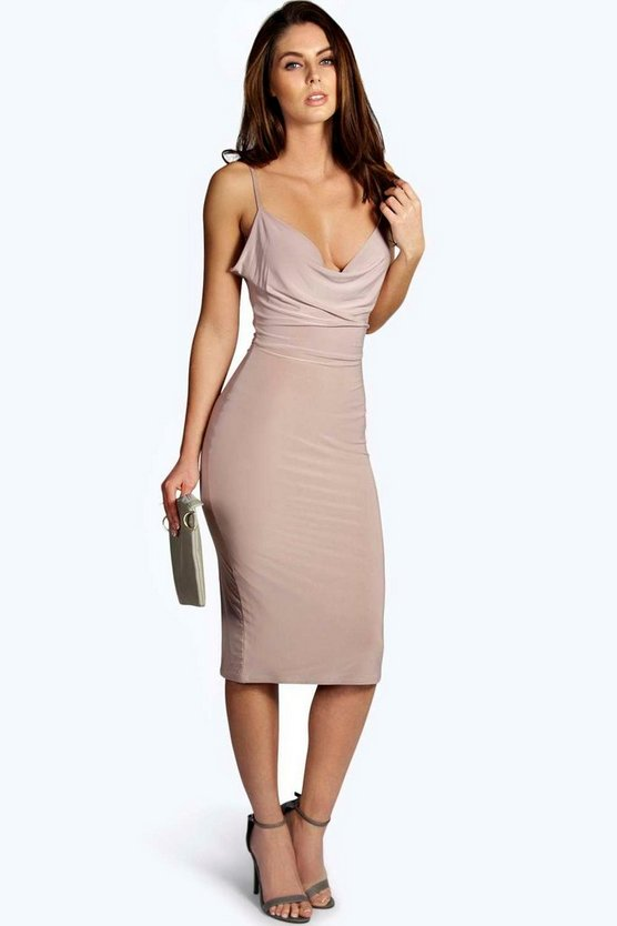 Womens Meg Slinky Strappy Cowl Front Bodycon Dress