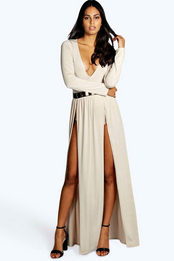 Womens Stone Libby Thigh Split and Gold Belt Maxi Dress
