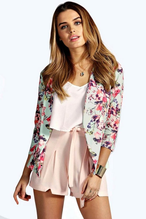 Kate Pastel Floral Print Tailored Blazer