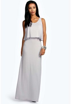 Womens Grey Marie Double Layer Maxi Dress