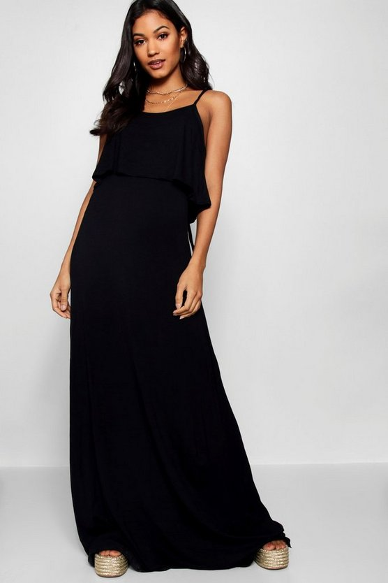 Womens Black Tie Back Maxi Dress