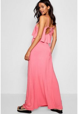Womens Coral Tie Back Maxi Dress