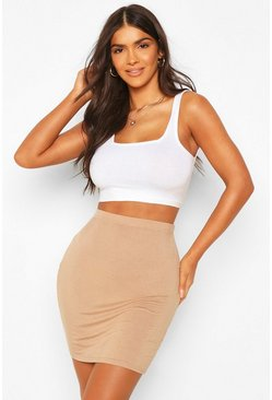 Womens Camel Basic Jersey Mini Skirt