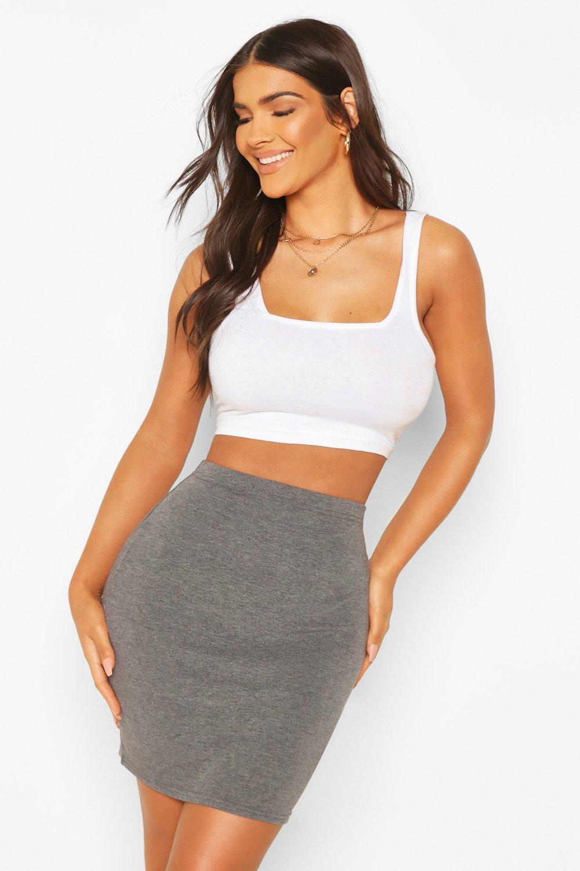 boohoo Bella Basic Jersey Mini Skirt charcoal