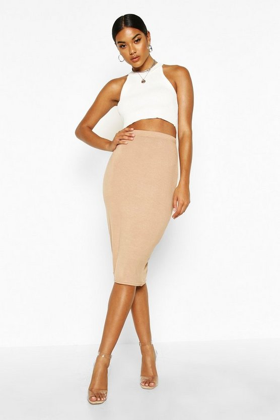 Womens Camel Basic Jersey Midi Skirt