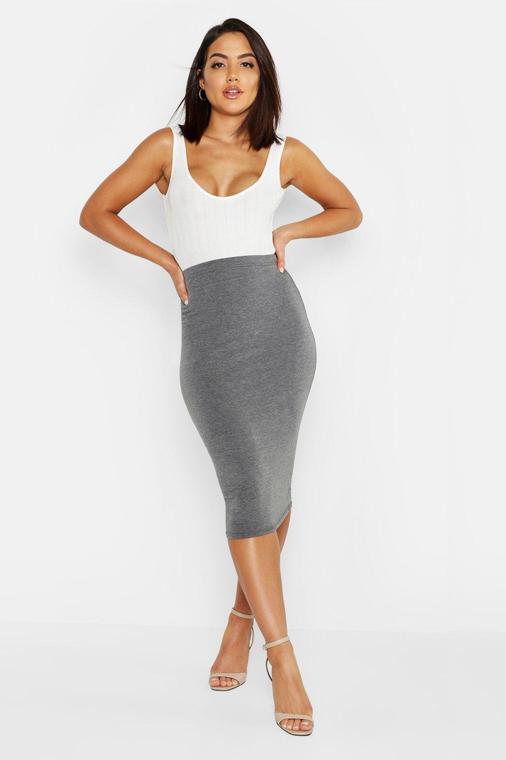 Must Have Womens Basic Jersey Midi Skirt   Grey   20 from Boohoo ...