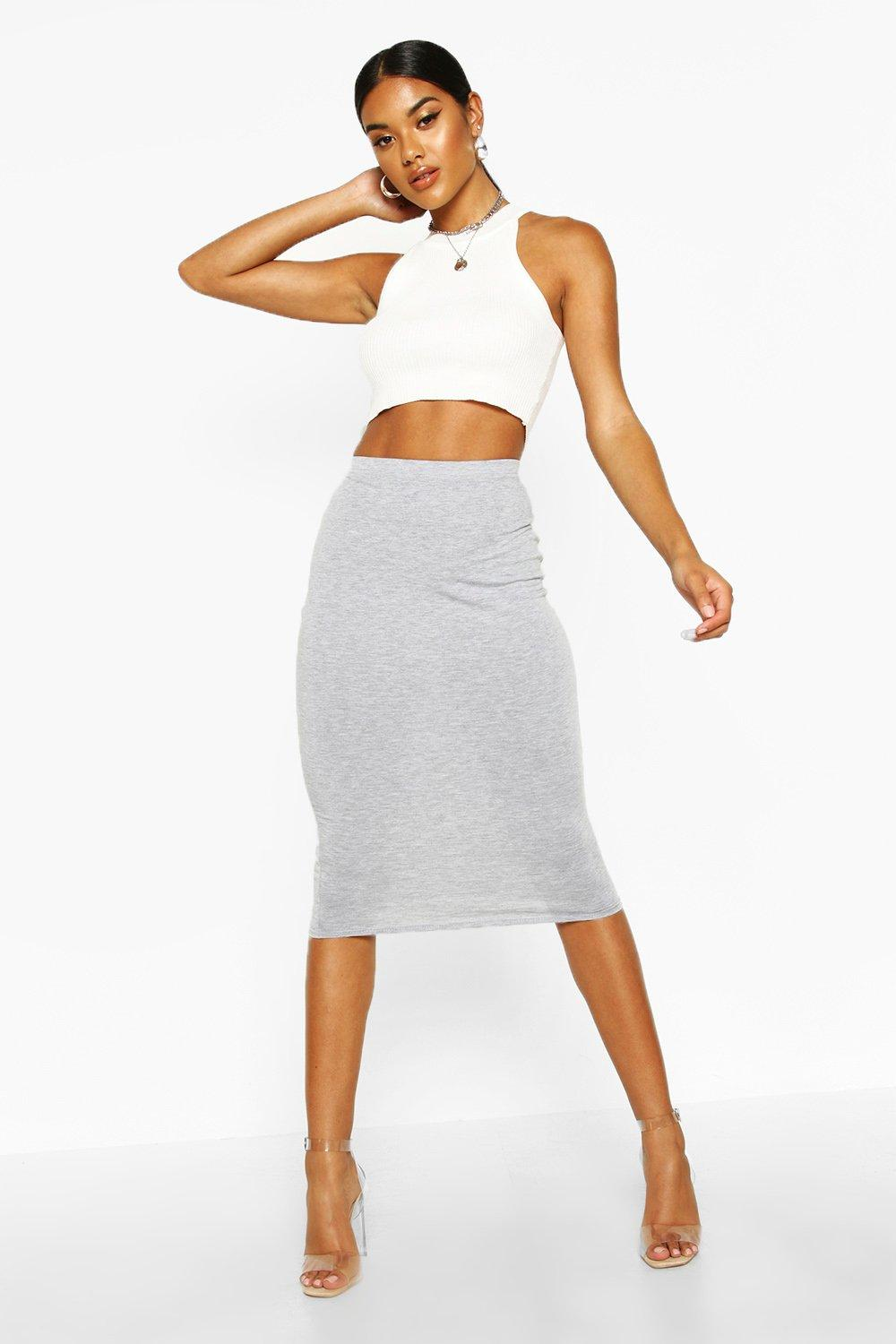 Shop Now For The Womens Basic Jersey Midi Skirt   Grey   20 ...