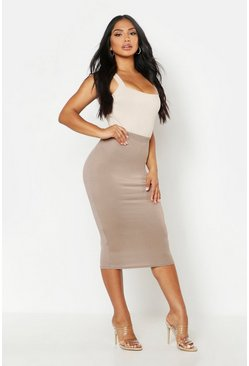 Womens Mocha Basic Jersey Midi Skirt