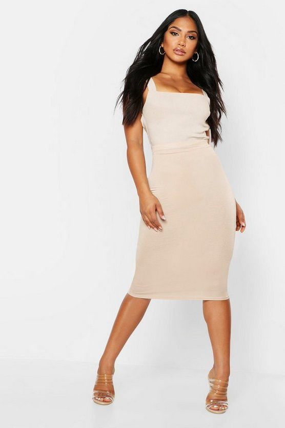 Womens Stone Basic Jersey Midi Skirt