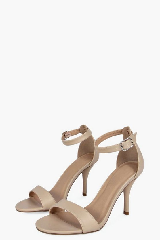 Wide Fit Ankle Strap Skinny Mid Heel Two Parts