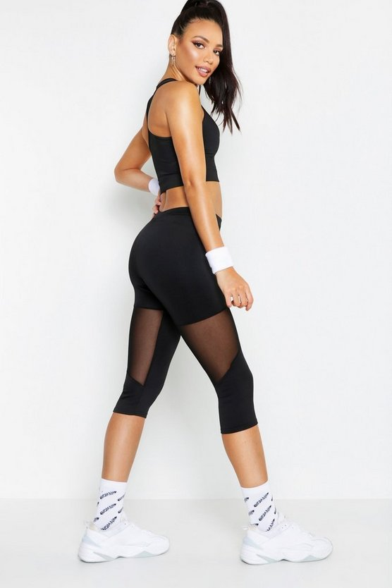 Black Fit Basic Mesh Panel Capri Legging