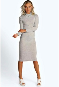 Womens Grey Katie Roll Neck Long Sleeve Midi Dress