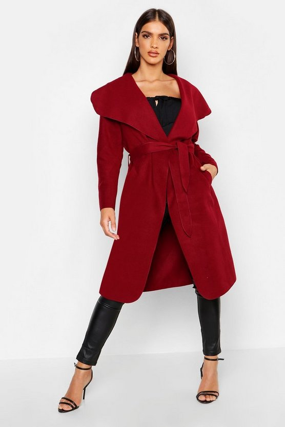 Womens Burgundy Belted Shawl Collar Coat