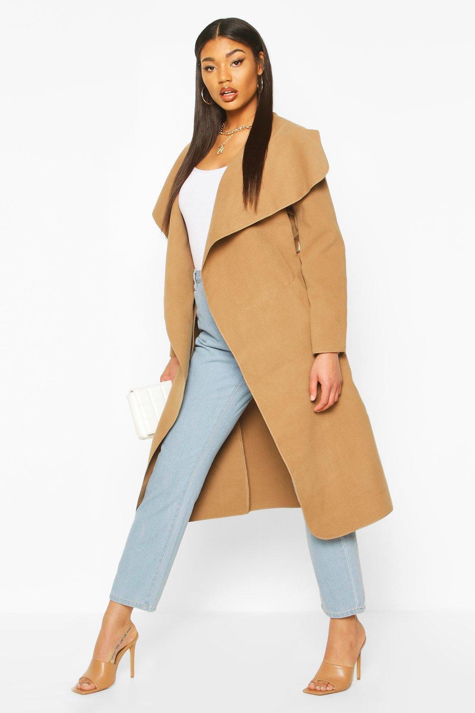 Boohoo Vêtements Femme Bon marché Manteau ceinturé à col