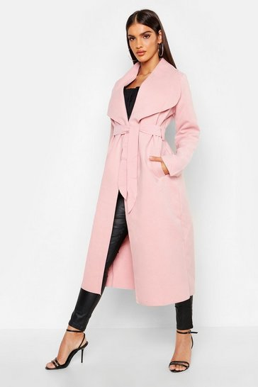 Womens Nude Belted Shawl Collar Coat